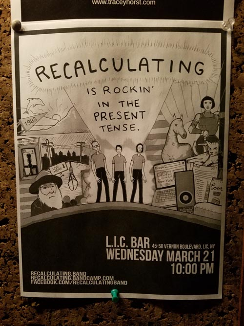 Recalculating Flier, LIC Bar, Long Island City, Queens, March 21, 2018