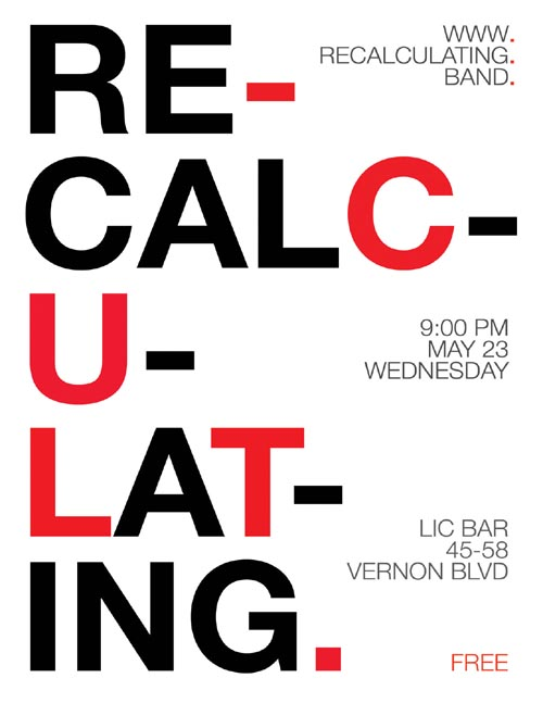 Recalculating Flier, May 23, 2018 LIC Bar Show
