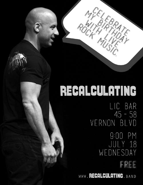 Recalculating Flier, July 18, 2018 LIC Bar Show