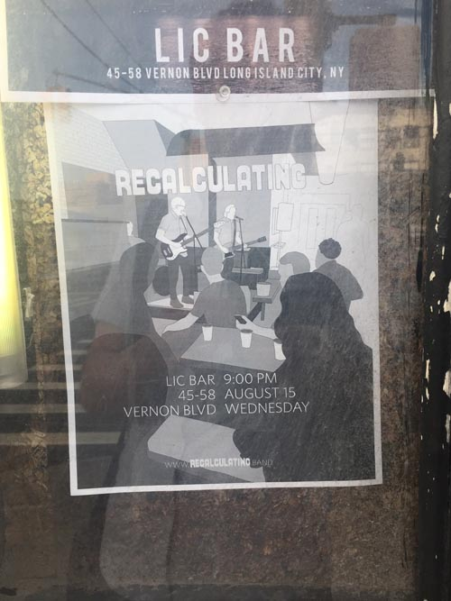 Recalculating Flier, LIC Bar, Long Island City, Queens, August 9, 2018