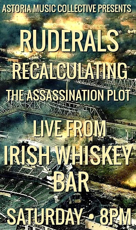 Flier, The Assassination Plot, Recalculating and Ruderals, Irish Whiskey Bar, Astoria, Queens, December 1, 2018